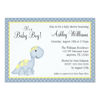 Blue Dinosaur Polka Dots Boy Baby Shower 5x7 Paper Invitation Card