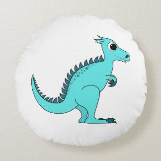 Blue Dinosaur Round Pillow