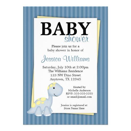Blue Dinosaur Stripes Baby Shower Invitations