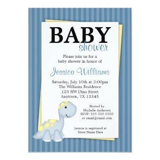 "Blue Dinosaur Stripes Baby Shower Invitations 5"" X 7"" Invitation Card"