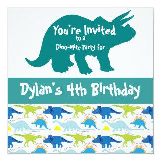 Blue Dinosaur Triceratops Birthday Invitations