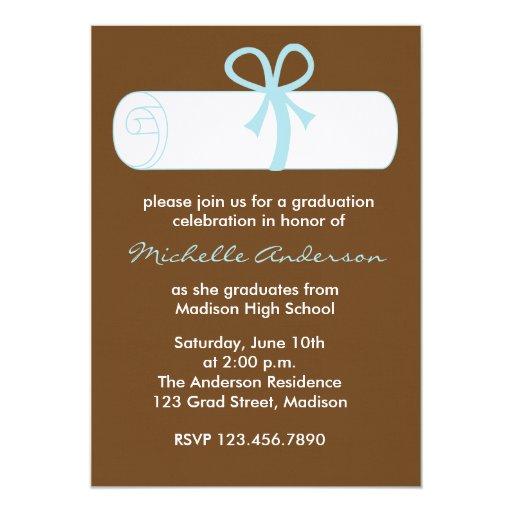 Blue Diploma Graduation Celebration Invitations