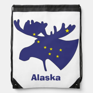 Blue Dipper Moose Drawstring Backpack