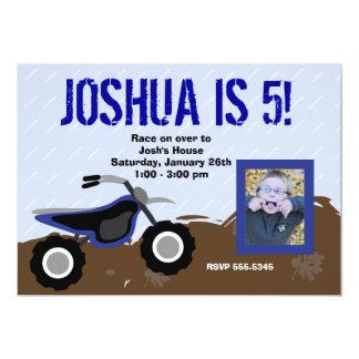 Blue Dirt Bike Birthday Invitation