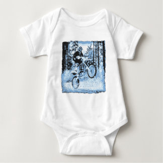 blue dirtbike wheeling in woods1 12x baby bodysuit
