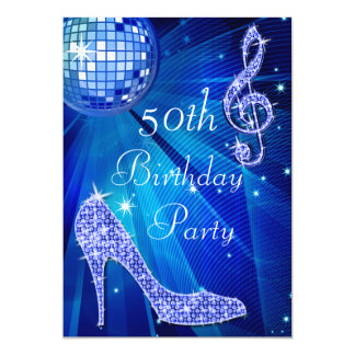 Blue Disco Ball and Heels 50th Birthday 5x7 Paper Invitation Card
