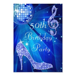 Blue Disco Ball and Heels 50th Birthday 5x7 Paper Invitation Card