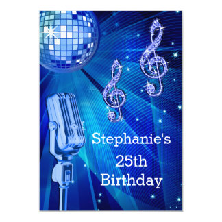 Blue Disco Ball and Retro Microphone 25th Birthday Card