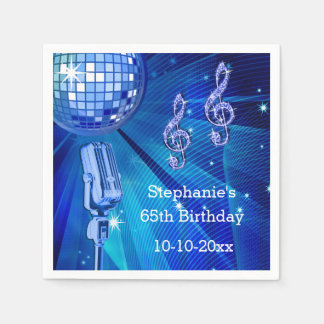 Blue Disco Ball and Retro Microphone 65th Birthday Paper Napkin
