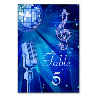 Blue Disco Ball and Retro Microphone Card