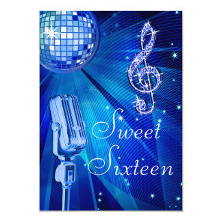 Blue Disco Ball and Retro Microphone Sweet 16 5x7 Paper Invitation Card
