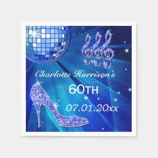 Blue Disco Ball and Sparkle Heels 60th Paper Napkin
