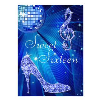 Blue Disco Ball and Sparkle Heels Sweet 16 Personalized Announcement