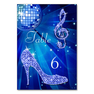 Blue Disco Ball and Stiletto Shoe Double Sided Card
