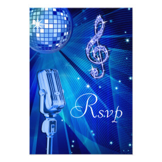 Blue Disco Ball & Retro Microphone RSVP Personalized Invitation