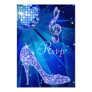 Blue Disco Ball Sparkle Heels RSVP Card