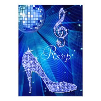 Blue Disco Ball Sparkle Heels RSVP Personalized Invitations
