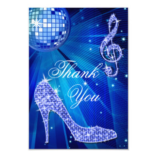 Blue Disco Ball Sparkle Heels Thank You Card