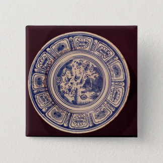 Blue dish, deriving from a late Ming Export Pinback Button
