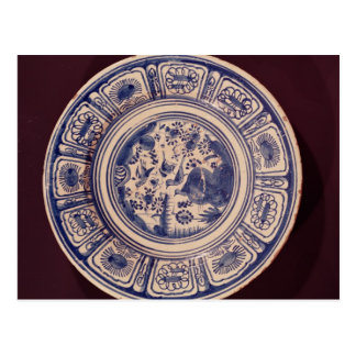 Blue dish, deriving from a late Ming Export Postcard