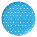 Blue Display Plate with white polka dots