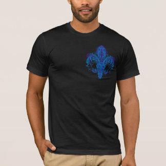 Blue Distressed Floral Fleur-de-lis #2 T-Shirt