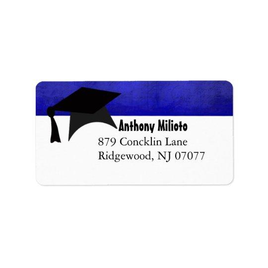 Blue Distressed Graduation Cap Label