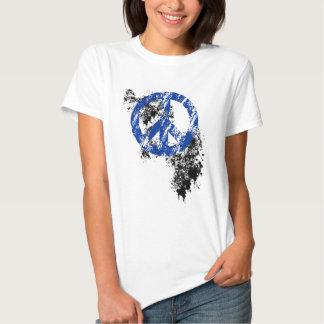 Blue Distressed Peace Symbol Black Paint Splatter T-shirt