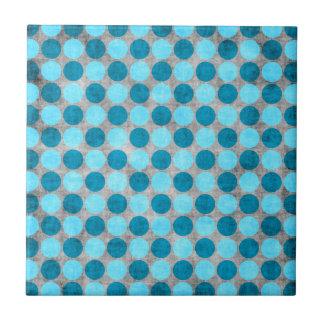Blue Distressed Polka Dotted Tile