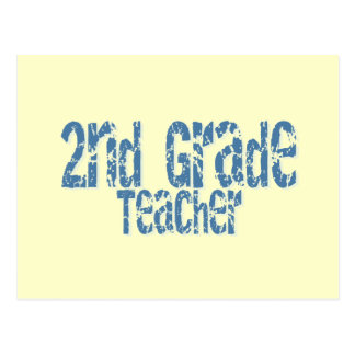 Blue Distressed Text 2nd Grade Teacher Postcard