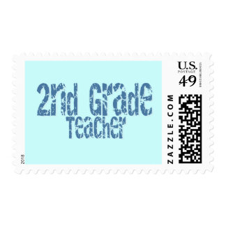 Blue Distressed Text 2nd Grade Teacher Stamps