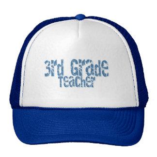 Blue Distressed Text 3rd Grade Teacher Trucker Hat
