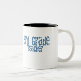 Blue Distressed Text 3rd Grade Teacher Two-Tone Coffee Mug