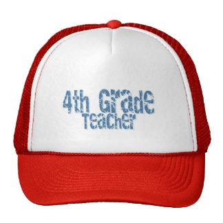 Blue Distressed Text 4th Grade Teacher Trucker Hats