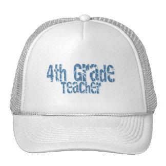 Blue Distressed Text 4th Grade Teacher Hat