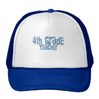 Blue Distressed Text 4th Grade Teacher Trucker Hat