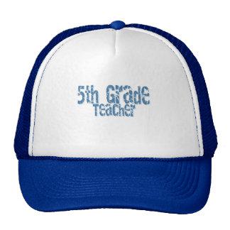Blue Distressed Text 5th Grade Teacher Trucker Hat