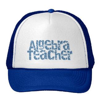Blue Distressed Text Algebra Teacher Mesh Hats