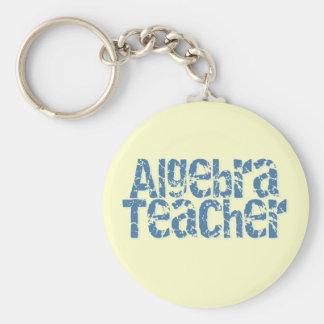 Blue Distressed Text Algebra Teacher Basic Round Button Keychain