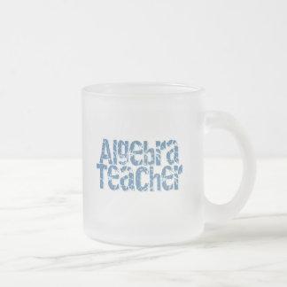 Blue Distressed Text Algebra Teacher Coffee Mugs