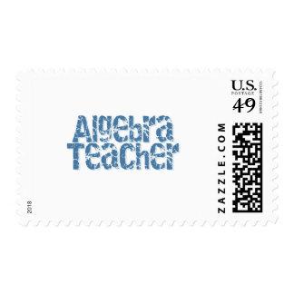 Blue Distressed Text Algebra Teacher Stamps