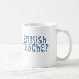 Blue Distressed Text English Teacher Coffee Mug