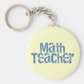 Blue Distressed Text Math Teacher Basic Round Button Keychain