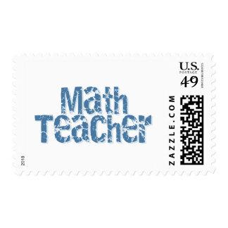 Blue Distressed Text Math Teacher Stamps