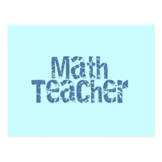 Blue Distressed Text Math Teacher Postcard