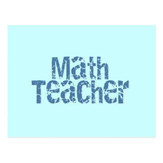 Blue Distressed Text Math Teacher Postcard