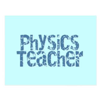 Blue Distressed Text Physics Teacher Postcard