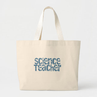 Blue Distressed Text Science Teacher Large Tote Bag