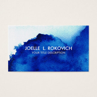 BLUE/Distressed Vintage Watercolor Blue Business Card