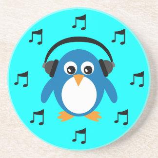 Blue DJ Penguin, Headphones & Musical Notes Coaster